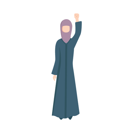 Vector young muslim woman in ethnic hijab clothing standing raising fist up as sign of feminism, female rights and rebellion. Arab girl against discrimination. Isolated illustration