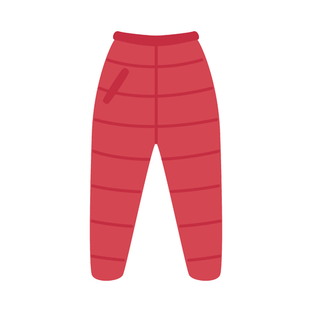 Vector warm trousers, pants red flat icon. Cold weather season autumn, winter outdoor clothing for active leisure, outdoor sport activities. Male, female garment, apparel.