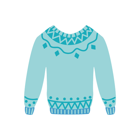 Vector warm knitted wool pullover flat icon. Cold weather apparel, fashion design element. Cotton, textile green sweater for active leisure. Isolated illustration Çizim