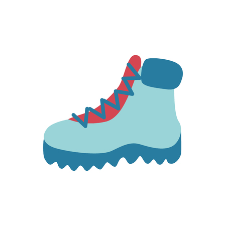 Vector flat boots icon. Hiking, casual walking travelling shoes for cold weather season - winter or autumn. Male, female footwear for active leisure, outdoor sport activity Standard-Bild - 113744716
