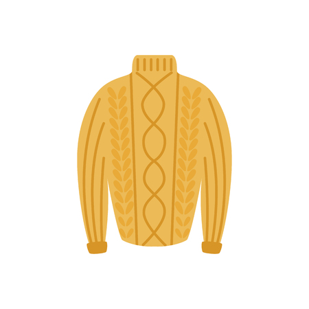 Vector warm knitted wool pullover flat icon. Cold weather apparel, fashion design element. Cotton, textile yellow sweater for active leisure. Isolated illustration