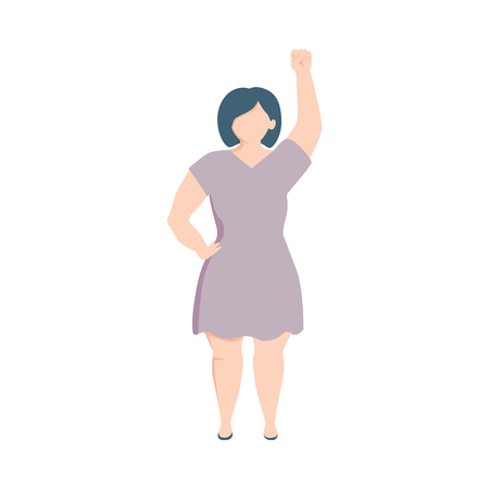 Vector caucasian plump woman in dress raising hand in fist up in female rights, feminism support and protest. Female character againts gender discrimination. Isolated illustration