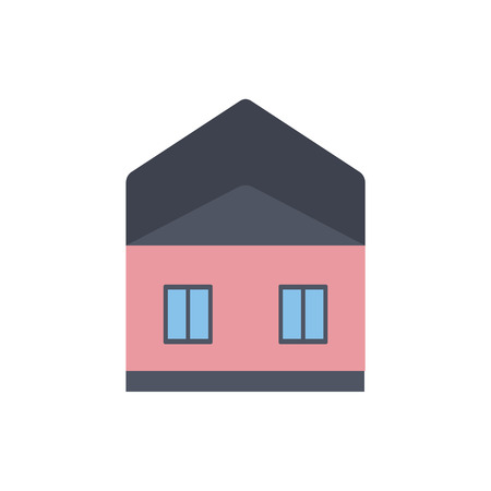 Vector illustration of private house in flat style isolated on white background - simple architectural element with pink walls. Small home building for suburban and village design.