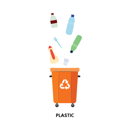 Vector recycle bin for trash separtion. Plastic waste garbage container with bottles, disposable dishes . Dump recycling concept for environmental related design. Isolated illustration Ilustração