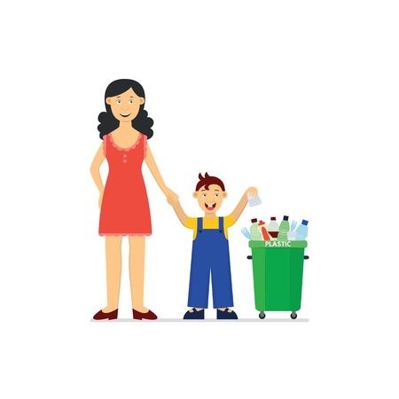Reciclar y desperdiciar el concepto de segregación y clasificación - niño pequeño con madre arrojando un vaso desechable en el cubo de basura verde para basura plástica en una ilustración vectorial plana aislada. Ilustración de vector