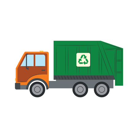 Trash truck with recycle symbol - green lorry vehicle for assembling and transportation of garbage in flat style. Isolated vector illustration of rubbish car for ecology saving concept.