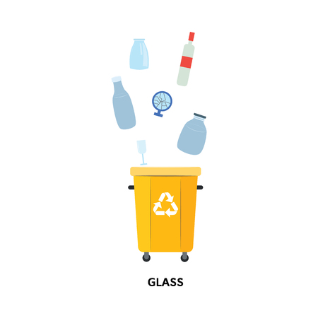 Recycle trash bin for used and thrown glass materials in flat style isolated on white background - vector illustration of yellow container for separated and sorted rubbish. Banque d'images - 113886929