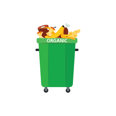 Recycle trash bin for organic garbage in flat style isolated on white background. Vector illustration of green full of food waste for separating and sorting rubbish concept.
