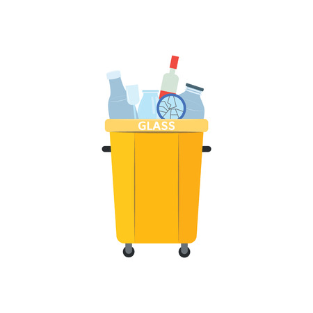 Recycle trash bin for used and thrown glass materials in flat style isolated on white background. Vector illustration of full yellow container for separated and sorted rubbish.