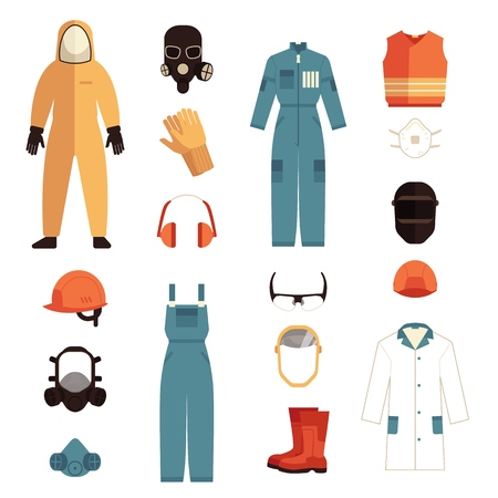 Vector protective uniform and equipment icon. Professional clothing for work in contaminated areas, bio hazard or at dirty manufacturing. Professtional industrial safety wear, isolated illustration 写真素材 - 126785665