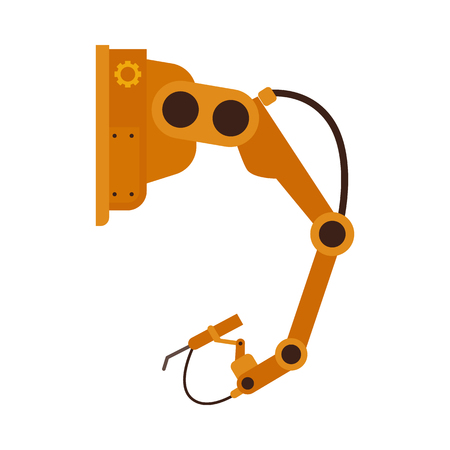 Industrial robotic arm in flat style isolated on white background - vector illustration of manufacturing automation technology of yellow mechanical hand, factory machine hydraulic equipment.