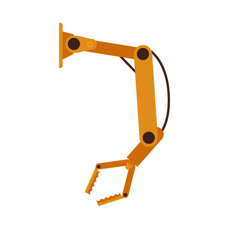 Vector illustration of industrial manufacturing automation robotic arm in flat style isolated on white background - technology of yellow mechanical hydraulic hand, factory machine equipment.