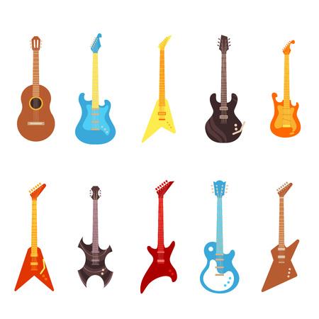Conjunto de ilustración de vector de guitarra: diferentes instrumentos musicales de cuerda eléctrica y acústica de varios colores en estilo plano. Equipo de concierto aislado sobre fondo blanco. Ilustración de vector