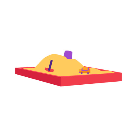 Red sandbox with pile of sand and children toys in flat style isolated on white background - vector illustration of sandpit with kids shovel, bucket and car on pile of yellow powder.