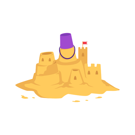 Sandcastle with kid toy bucket and little red flag in flat style isolated on white background - vector illustration of castle with tower made from yellow sand for summer seashore recreation concept. Vetores