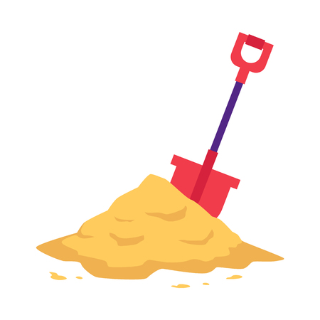 Sand heap with red shovel in flat style isolated on white background - vector illustration of big pile of crumbly powder. Yellow sandy mound for building, beach leisure or kid game concept.