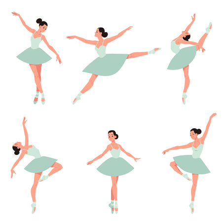 Vector elegant ballerina in green tutu dress, dancing on pointe shoes set. Female beautiful classic theater dancer character on isolated background. Ballet artist illustration