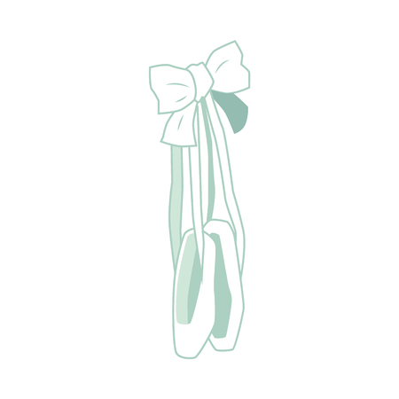 Vector ballet pointe shoes handing on elegant bow. Greeting or invitation card design element for ballet lovers. Ballerina dancer equipment for theater stage performance. Isolated illustration
