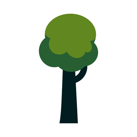 Vector abstract tree with majestic green foliage canopy. Natural element for game landscape design. Forest plant flat icon. Symbol of ecology and environment. Isolated illustration Imagens - 126785683