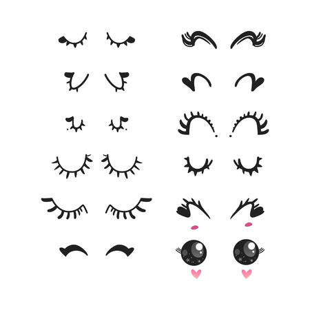 Eyelashes vector illustration set - different pretty cute cartoon false girly or unicorn lashes on closed smiling or sleeping and open eyes with stars reflection isolated on white background.