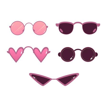 Vector heart shape, circle sunglasses set. Photo booth prop, selfie photo decoration symbol. Retro scrapbooking acessory icon. Summer fancy retro glasses, isolated illustration Illustration