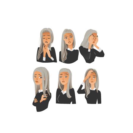 Vector retrato de mujer joven hermosa con conjunto de emociones negativas. Chica rubia con colección de expresiones faciales triste, enojado, aterrorizado y agotado. Ilustración aislada Ilustración de vector