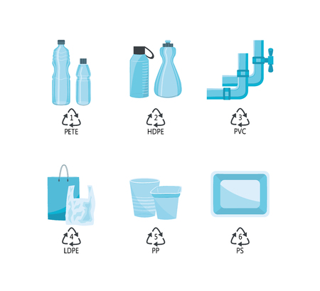 Vector plastics types with recycling mark and product examples. PETE, HDPE, PVC LDPE PP and PS plastics. Water pipe, water bottles, shopping bags food packages. Isolated illustration Stock Illustratie