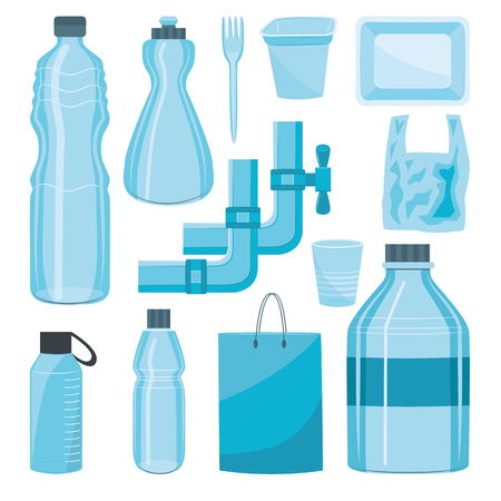 Vector plastics types product set. Water pipe, water and detergents bottles, shopping bags food packages and disposable cutlery, cup. Isolated illustration Illustration