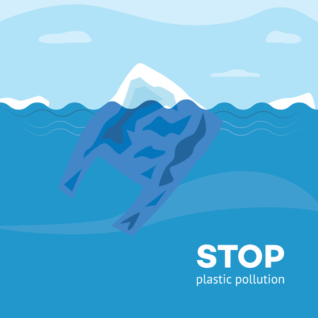 Stop plastic pollution banner with polyethylene disposable bag floating in blue sea or ocean water in flat style - vector illustration of ecological problem and environmental contamination.