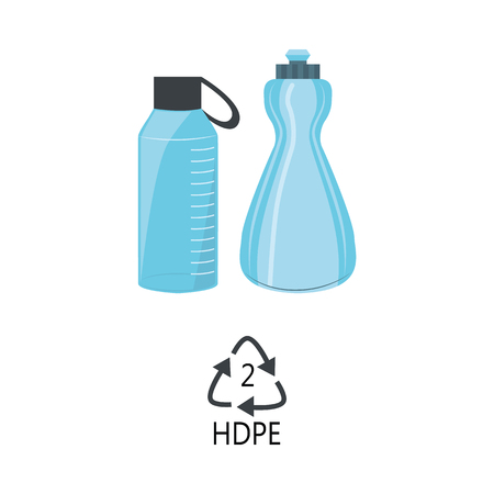 HDPE 2 plastic type - blue high-density polyethylene bottles with recycle triangle arrow sign in flat style isolated on white background. Vector illustration of polythene products. Illustration