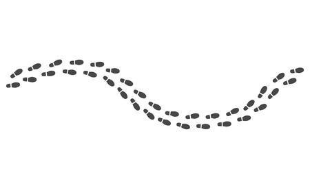 Voie des empreintes humaines noires isolées sur fond blanc - route de la silhouette monochrome de la semelle de la chaussure en illustration vectorielle. Sentier de marche personne - bottes trace de l'homme.