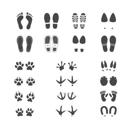 Vektorillustrationssatz verschiedener Fuß- und Pfotenspuren von Menschen, Wild- und Haustieren und Vögeln isoliert auf weißem Hintergrund - monochrome Silhouetten verschiedener Fußabdrücke. Vektorgrafik