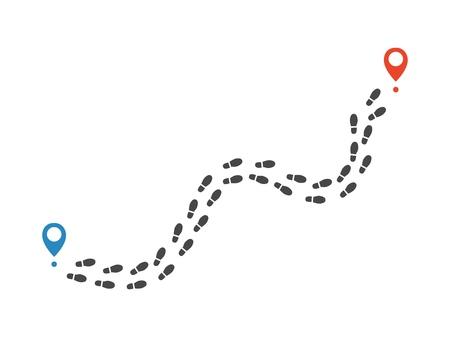 Route van menselijke schoen track monochroom silhouet vectorillustratie. Tracking van zwarte vorm van enige afdruk met bestemmingspinnen geïsoleerd op een witte achtergrond - traject van menselijke laarstracering.