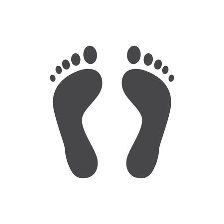 Menselijke barefoot track monochroom silhouet vectorillustratie - zwarte vorm van persoon voetafdruk geïsoleerd op een witte achtergrond. Solide pictogram van een paar schattige menselijke sporen.