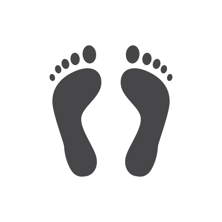 Human barefoot track monochrome silhouette vector illustration - black shape of person footprint isolated on white background. Solid pictogram of pair of cute human trace.