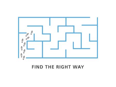 Encuentre el banner de motivación de la manera correcta con laberinto azul y pistas de zapatos humanos en la entrada aislada sobre fondo blanco - ilustración vectorial de la estrategia empresarial o el concepto de solución de problemas.