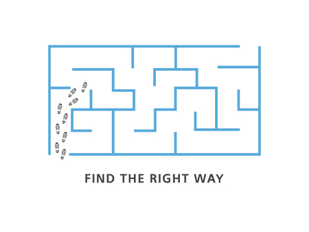 Find the right way motivation banner with blue labyrinth and human shoe tracks at entrance isolated on white background - vector illustration of business strategy or problem solution concept.