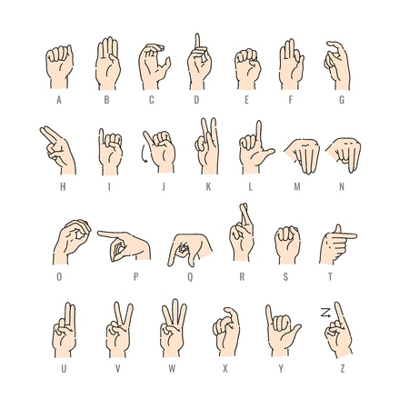 Vector deaf-mute alphabet with hand gestures set. Hand drawn mute language, communication for disabled people. Finger, palm and fist signs collection. Isolated illustration 일러스트