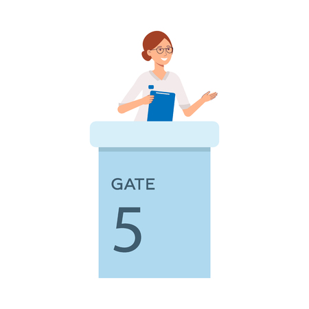 Vector cheerful woman in glasses greeting tourists standing at gate check-in smiling. Female character at airport terminal service. Travelling concept, isolated illustration