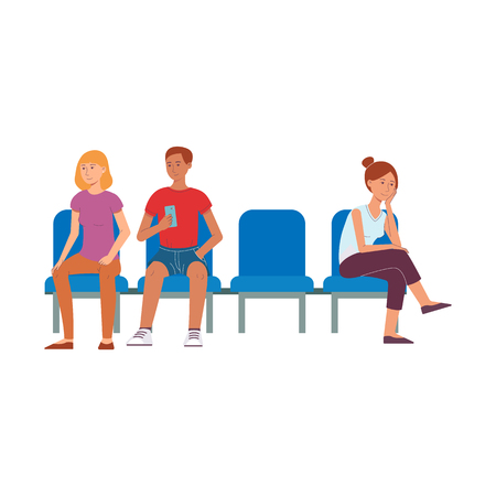 Vector cheerful people sitting at chairs waiting for airplane flight in airport terminal with tickets or route maps smiling. Male, female travellers character waiting for flight. Isolated illustration