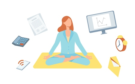 Vector beautiful blonde woman sitting in lotus posture practicing yoga with symbols of stress, timemanagement around. Female character at relaxation session. Concept of meditation, healthy lifestyle. Ilustração