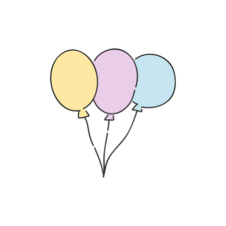 Bunch of colorful helium balloons isolated on white background - hand drawn vector illustration of group of flying inflated party balloons with strings for holiday congratulation or invitation design.