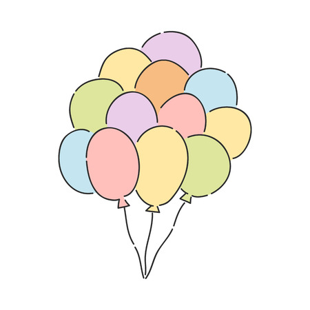Bunch of colorful helium balloons isolated on white background. Hand drawn vector illustration of flying inflated party balloons with strings for holiday congratulation or invitation design. Stock Vector - 126785714