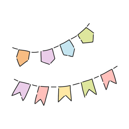 Vector illustration of colorful party flags isolated on white background - hand drawn holiday decorative elements for birthday or new year celebration design. Carnival garlands and buntings.