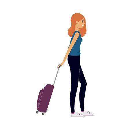 Mujer joven en vestido tirando de maleta de viaje gris, bolsa de plástico sonriendo. Feliz personaje femenino, viajero, turista que va de vacaciones. Ilustración vectorial