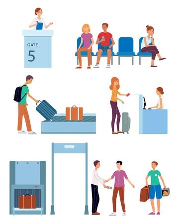 Check-in en el aeropuerto de vector, conjunto de concepto de personajes itinerantes. Control de seguridad aduanera, mujer en el puesto de salida, gente sentada en sillas con boletos, hombre de pie con bolsa de viaje, transportador de gatos