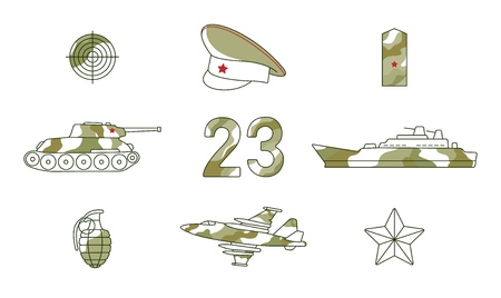 Vector flat 23th of february, Russian Defender of the Fatherland Day symbol icon set. Warship boat, armored tank, military aircraft jet, plane, army star and sniper target. Isolated illustration Illustration