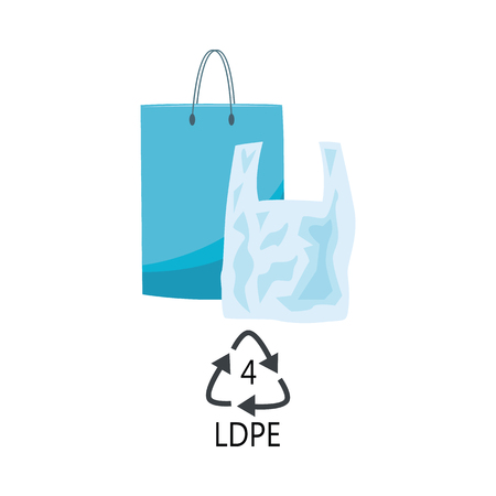LDPE 4 plastic type - blue polythene shopping bags with handle with recycle triangle arrow sign in flat style isolated on white background. Vector illustration of low-density polyethylene products.