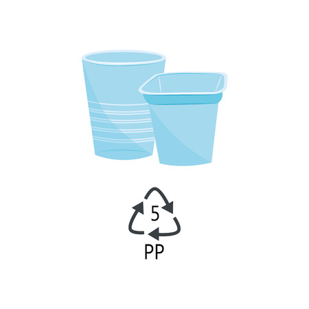 PP 5 plastic type - blue heat-resistant polypropylene cups with recycle triangle arrow sign in flat style isolated on white background. Vector illustration of lasting polymer products.