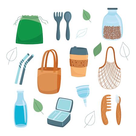Nul afval en hergebruik concept vector illustratie set met verschillende eco vriendelijke herbruikbare tassen, keukengerei en producten voor persoonlijke verzorging in vlakke stijl geïsoleerd op een witte achtergrond. Vector Illustratie